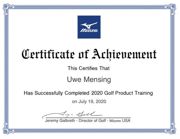 Mizuno Golf Collection Course Certificate Uwe