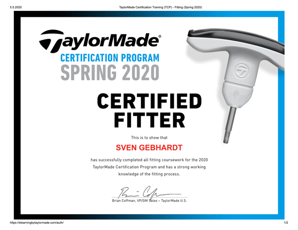 TaylorMade Certification-Training-TCP-Fitting