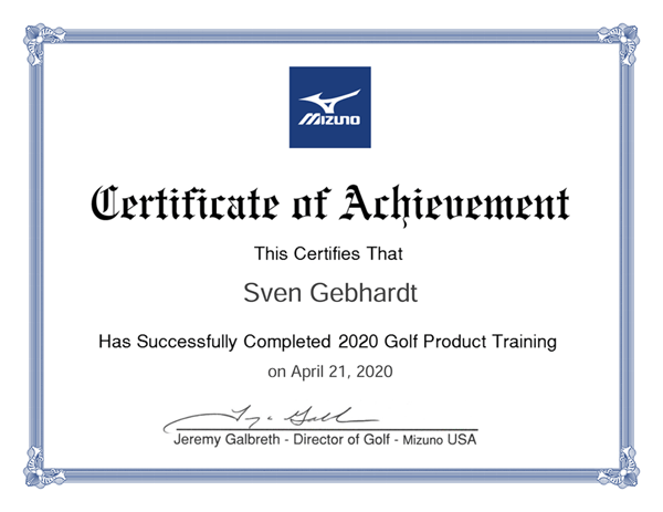 Mizuno Golf Collection Course Certificate