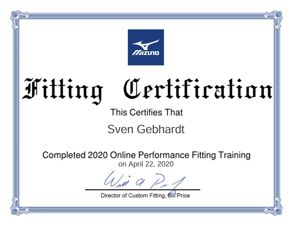 Mizuno Fitting Collection Course Certificate