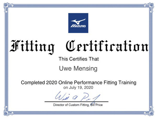 Mizuno Fitting Collection Course Certificate Uwe